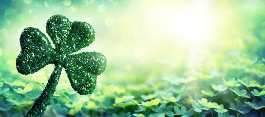Patrick Day Symbol - Shiny Clover In Green Field