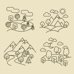 Wall Mural - Nature landscape thin line icons. Forest and valley landscapes vector illustration