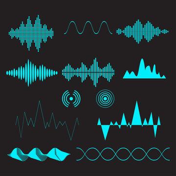 Sound waves set. Audio technology, musical pulse. Vector illustration.
