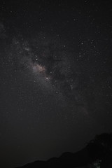 The Milky Way over the mountains in vertical view. Long exposure photograph.