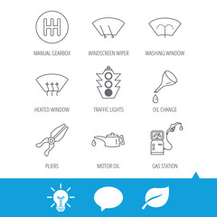 Motor oil change, traffic lights and pliers icons. Gas station, heated window and manual gearbox linear signs. Washing window icons. Light bulb, speech bubble and leaf web icons. Vector