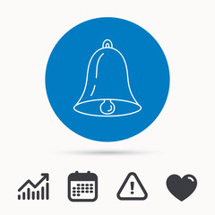 Bell icon. Sound sign. Alarm handbell symbol. Calendar, attention sign and growth chart. Button with web icon. Vector