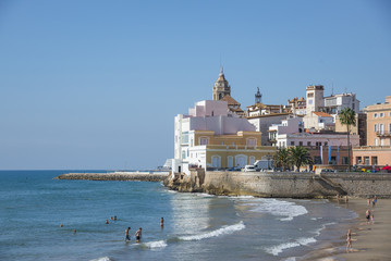 View of the San Sebastian Beach, Sitges, Spain