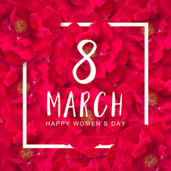 The international happy women's day on 8 March, Symbol Rose flowers Pink, Floral Greeting card.