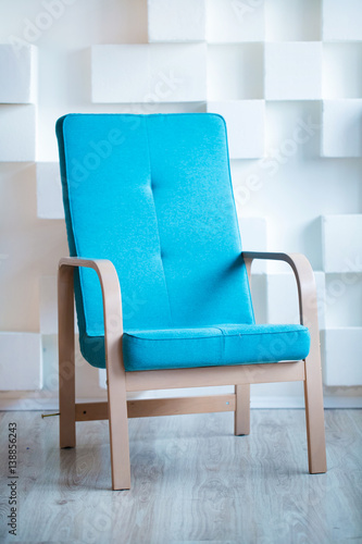 blue chair in living room space blue tone minimal concept fotolia