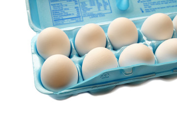 Hen Eggs in a Blue Container