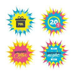 70 percent sale gift box tag sign icon.