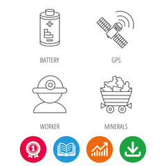 Worker, minerals and GPS satellite icons. Battery linear sign. Award medal, growth chart and opened book web icons. Download arrow. Vector