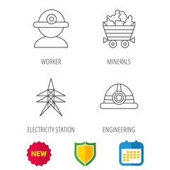 Worker, minerals and engineering helm icons. Electricity station linear sign. Shield protection, calendar and new tag web icons. Vector