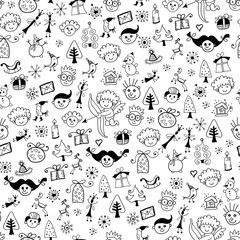Seamless cartoon pattern with kids doodle face