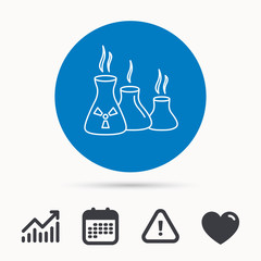 Industry building icon. Manufacturing sign. Chemical toxic production symbol. Calendar, attention sign and growth chart. Button with web icon. Vector