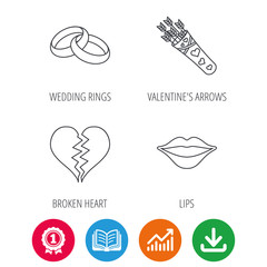 Broken heart, kiss and wedding rings icons. Valentine amour arrows linear sign. Award medal, growth chart and opened book web icons. Download arrow. Vector