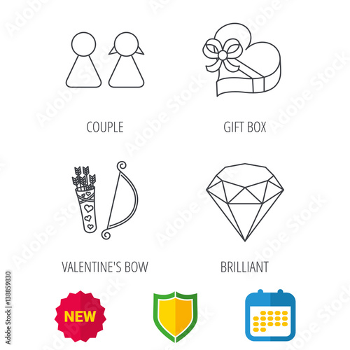 couple brilliant and engagement gift box icons valentine amour arrows linear signs shield. Black Bedroom Furniture Sets. Home Design Ideas