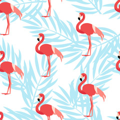 Seamless pattern with flamingo and palm branches. Ornament for textile and wrapping. Vector background.