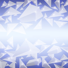 Blue Crystal Pattern. Explosion of Particles. Abstract Parts Background