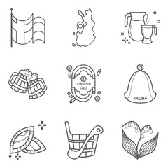 Set of lineart vector icons of Finland main symbols and signs including flag and land map.
