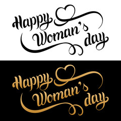 Happy Woman's day card. Vintage love background. 8 March handwritten lettering. Curly calligraphy with romantic heart.