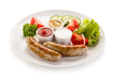 Breakfast - fried white sausages and vegetables