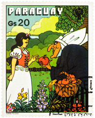 Snow White and old woman with apples - scene from a fairy tale by brothers Grimm on postage stamp