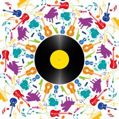 Musique - Instruments de musique - disque vinyle - fête de la musique - fond