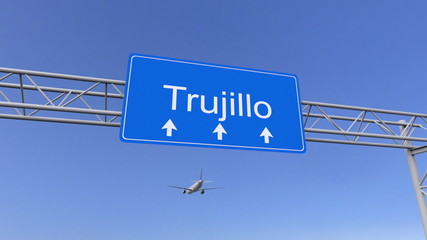 Commercial airplane arriving to Trujillo airport. Travelling to Peru conceptual 3D rendering