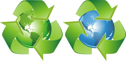 Ecological symbol - earth surrounded with green arrows. Sign protection ekosistemy our planet. Vector illustration