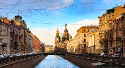 Scenic view of the Griboyedov Canal Embankment. The Church of the Savior on Spilled Blood (Cathedral of the Resurrection of Christ), St. Petersburg, Russia.