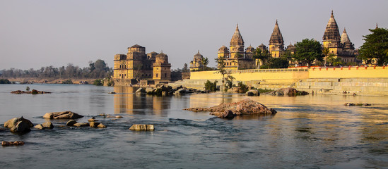 View of cenotaphs and Betwa River in Orchha, Madhya Pradesh, India