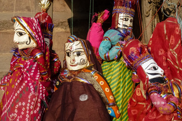 India art style puppets hanging for display, Jaipur, Rajasthan, India