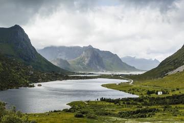 Landscape in the northern part of Lofoten Islands, Norway.