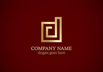 square line gold letter d logo