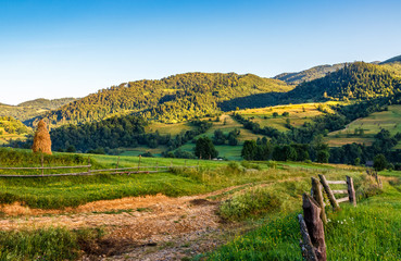 agricultural fields on hills sunrise