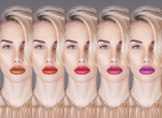 Fashion collage blonde close-up of beautiful woman with colorful lipstick. Woman Collection lipstick. Perfect lips makeup, Bright appearance