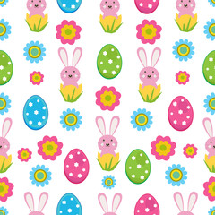 Vector seamless pattern with an Easter theme.