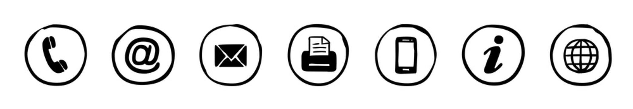 Handgezeichnete, runde Kontakt-Icons / schwarz-weiß, Vektor, freigestellt