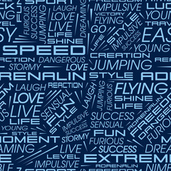 Vector seamless pattern with the words: speed, extreme, adrenaline and others.