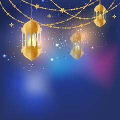 Suspended Arabic lamps decor, Eid Mubarak greeting card