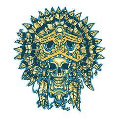 Aztec warrior. Skull. Vector illustration