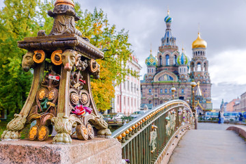 Detail of a bridge in Saint-Petersburg on a background Church of the Savior on Spilled Blood. Fototapete