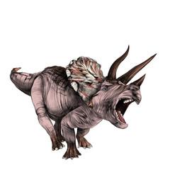 Triceratops dinosaur sketch vector color drawing