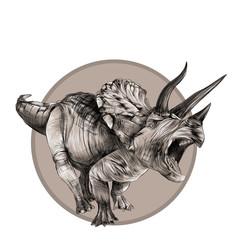 Triceratops dinosaur sketch vector in the circle