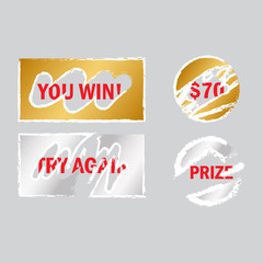 Scratch card elements. Win game lottery prize vector