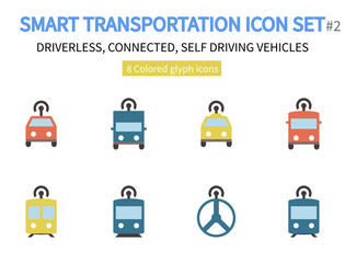Smart Transportation icon set #2 - 8 Pixel perfect colored icons - Material design