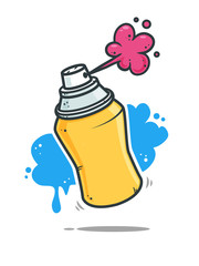 Graffiti spray can vector cartoon illustration