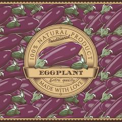 Vintage Eggplant Label On Seamless Pattern