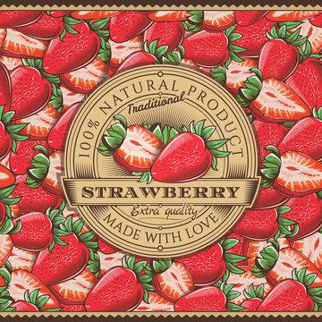 Vintage Strawberry Label On Seamless Pattern