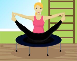 Yoga on trampoline in gym