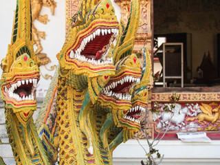 Dragon Sculpture at a Temple in Chiang Mai Thailand