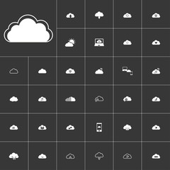 white clouds icon set on gray background to use in web and mobile UI
