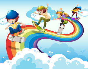 Children skateboarding on rainbow in sky